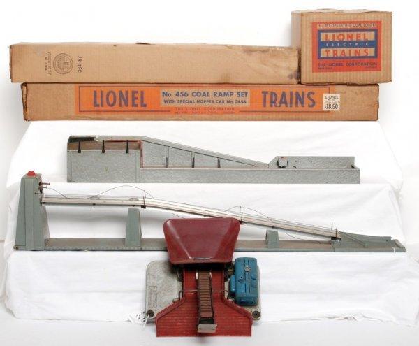 2: Lionel 397 coal loader, 456 coal ramp, 364 lumber