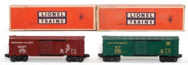 801: Unrun Lionel 6464-50 and 6464-75 boxcars, OB