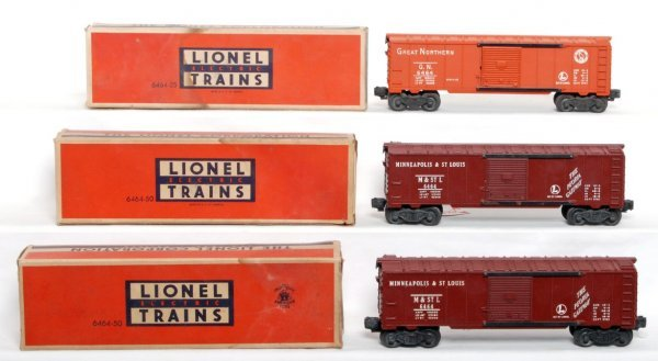 802: Lionel 6464-25 GN and two 6464-50 MStL, OB