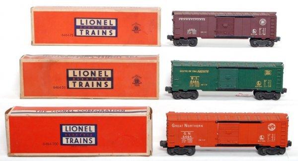 804: Lionel 6464-200 PRR, 6464-75 RI, 6464-25 GN OB