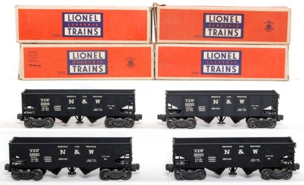 811: Four Lionel 3456 Norfolk and Western hoppers OB