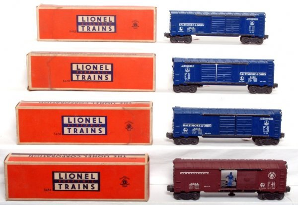 815: Three Lionel 6468 B&O boxcars, 3484 PRR OB