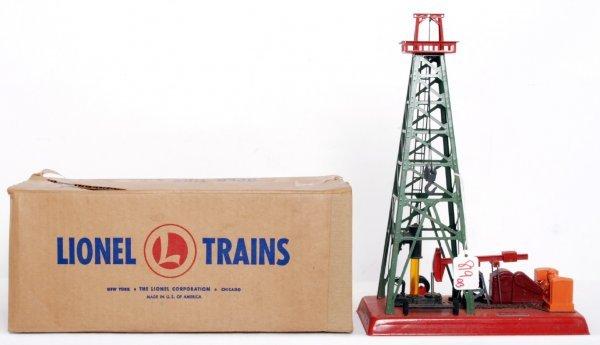 819: Lionel 455 oil derrick, more unusual red top, OB