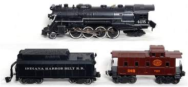 296: Lionel loco, tender and caboose, redecorated IHB