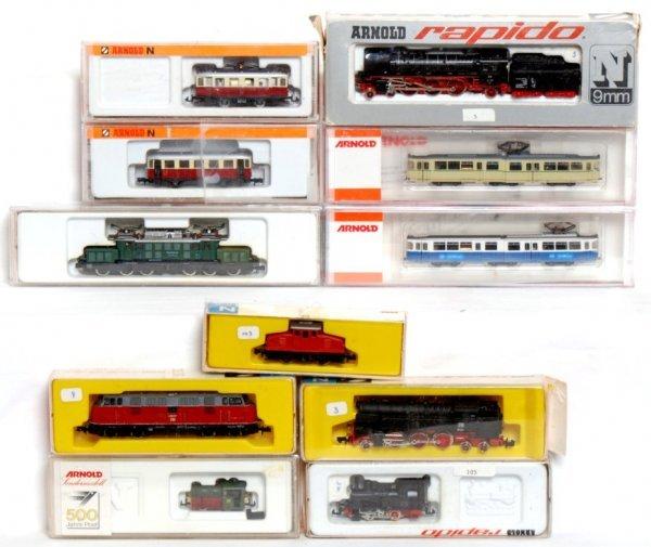 493: Eleven Arnold-Rapido N scale European trains