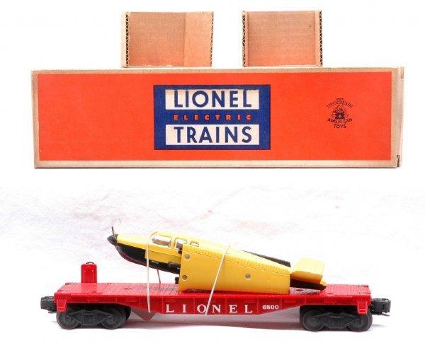 501: Lionel 6800 Flatcar w/Yellow Airplane MINT Boxed