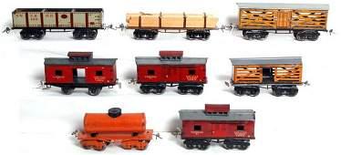 209: Eight Ives prewar O gauge freight cars