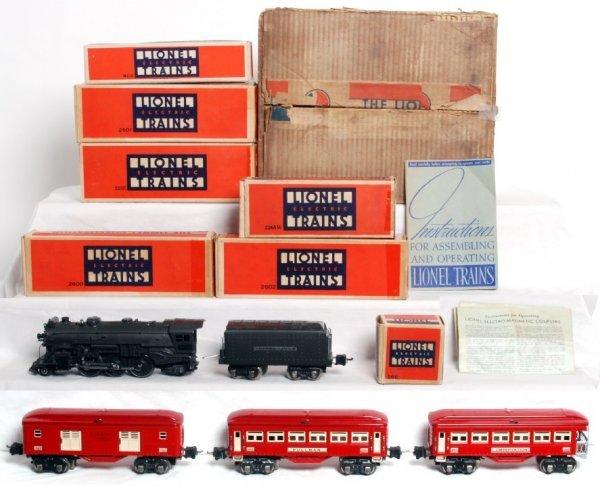 1111: Lionel prewar set 182W, 225E with red cars NICE!