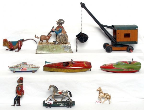 232: Lot of tinplate toy, some windup, Wyandotte, Alps