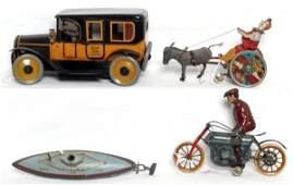 248: Four windup/key wind tin toys, Lehmann
