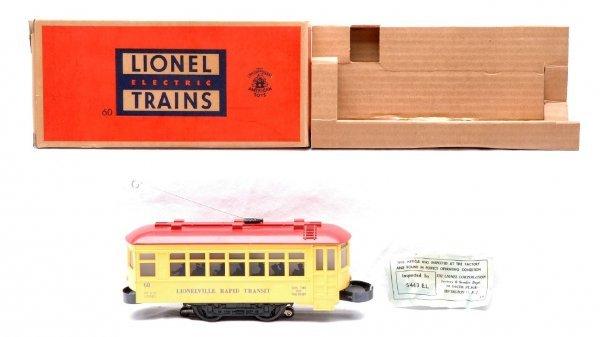 3: Lionel 60 Trolley w/Two Part Bumper LN Boxed