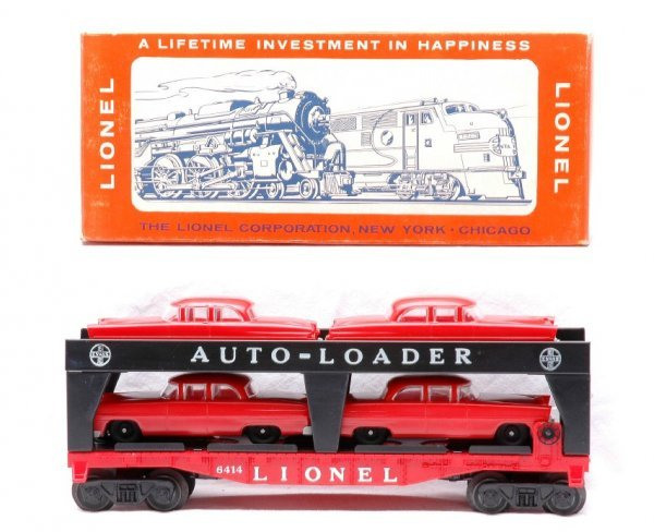 7: Lionel 6414 Auto Car w/four Red Cars MINT Boxed