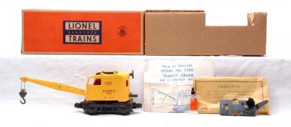 9: Lionel 3360 Operating Burro Crane MINT Boxed