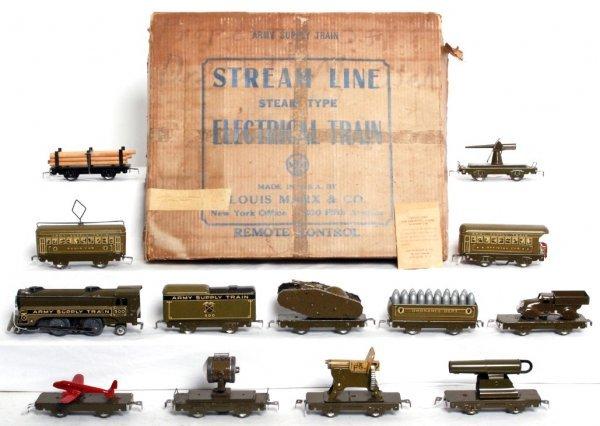 56: Marx Army Supply Train set in original box