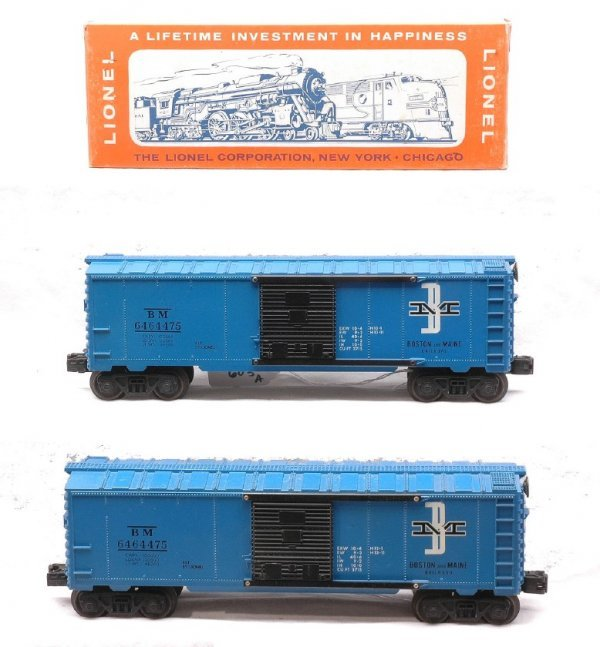 603: Lionel two 6464-375 B & M Boxcars MINT OB