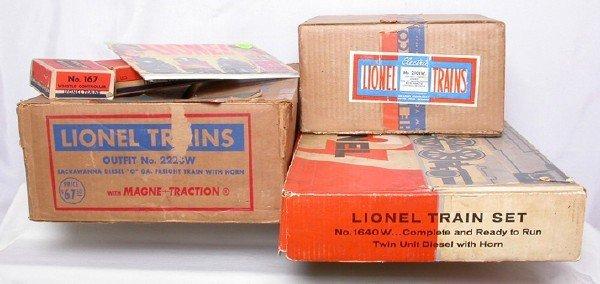 590: Lionel set boxes 2223W, 1640W, 2101W