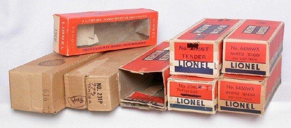 591: Lionel boxes 616, 2046T, 231P, 736W, 6466WX