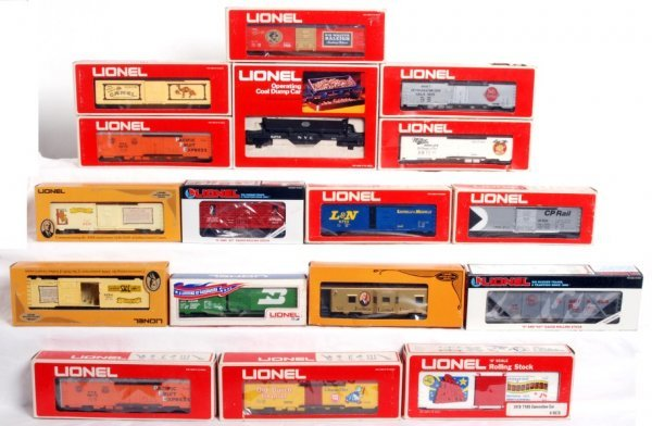 12: Seventeen Lionel freight cars in OB
