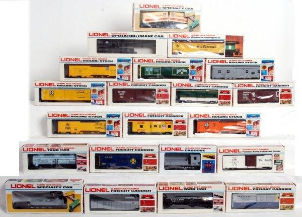 13: Twenty-one Lionel O gauge freight cars in OB