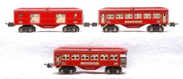 22: Lionel Prewar Red Passenger Cars 602 600 601