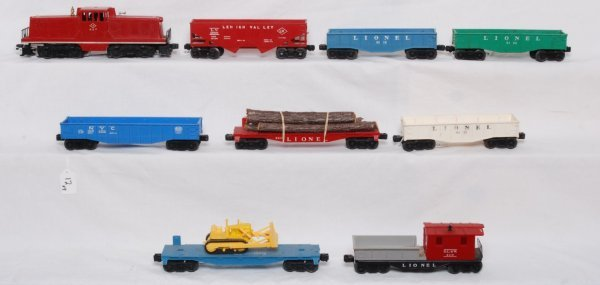 12: Lionel 627 LV with eight postwar freight cars