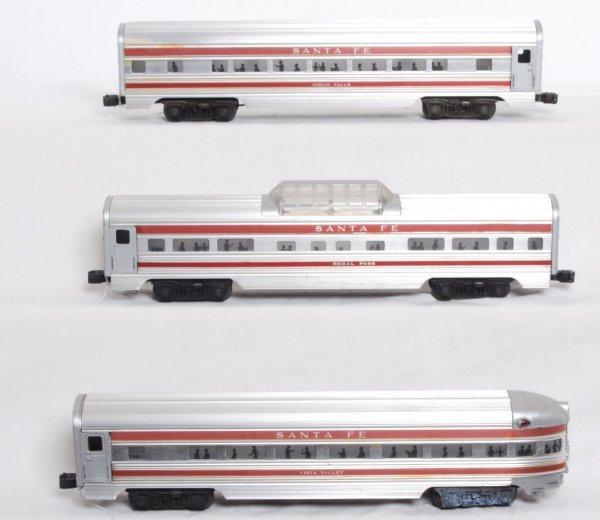 19: Lionel red stripe Santa Fe aluminum passenger cars