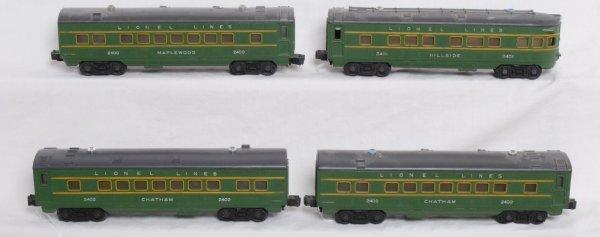 21: Lionel 2400, 2401, 2402, 2402 passenger cars