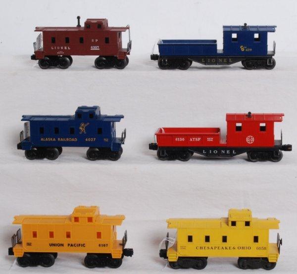 5: Six postwar O gauge cabooses 6219, 6130, 6027