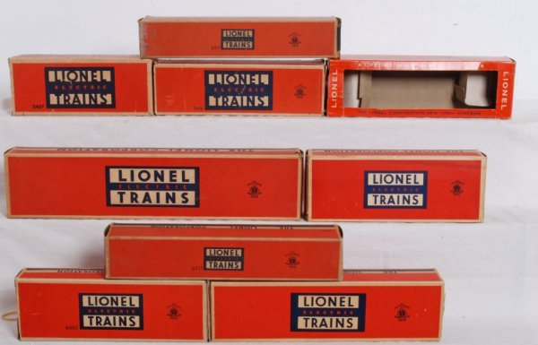 11: Lot of nine empty postwar Lionel boxes O gauge