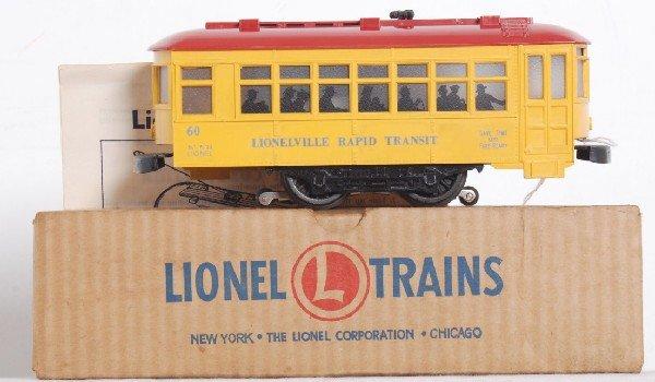 1: Postwar Lionel blue letter No. 60 trolley w/vents in