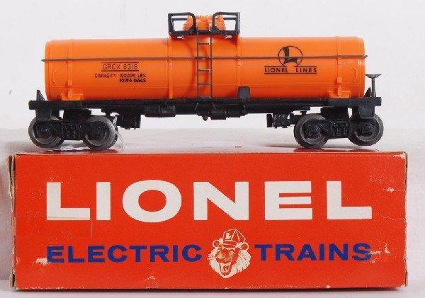 12: Unrun Lionel No. 6315-50 chemical tank car in OB