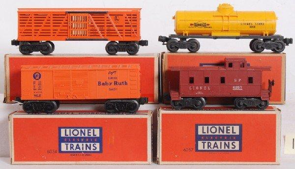 13: Lionel postwar cars, 6015, 6646, 6034, 6257 in OB