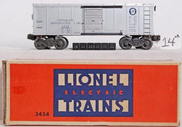 14: Postwar Lionel 3454 operating merchandise car in OB