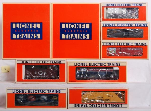 3: 13 Lionel LTI 6464 boxcars and other freight cars