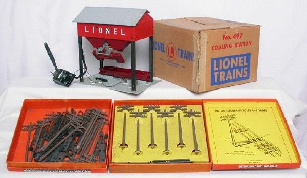 2013: Lionel 497 coal loader two 150 telegraph sets OBs