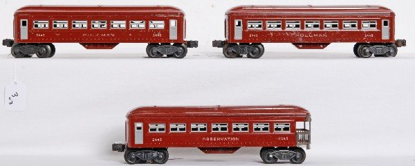 3: Postwar Lionel 2442 x2 and 2443 passenger cars