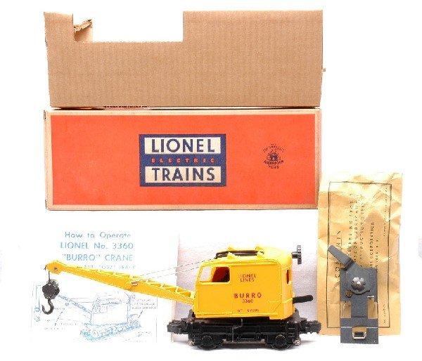 3: Lionel 3360 Operating Burro Crane MINT Boxed