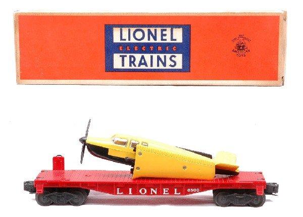 6: Lionel 6800 Flatcar w/Yellow Airplane MINT Boxed