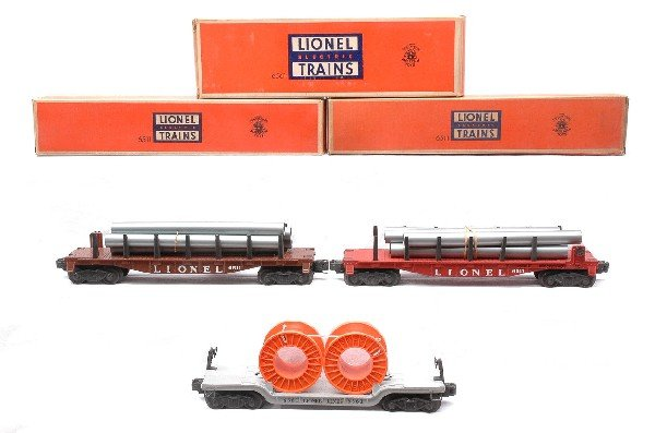 8: Lionel two 6511 Pipe Car 6561 Cable Car MINT OBs