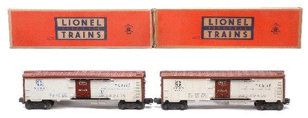 16: Lionel two 6672 Santa Fe Refrigerator Cars LN OBs