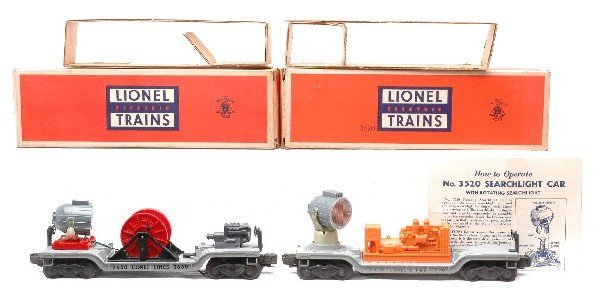 18: Lionel 3520 3650 Searchlight Cars MINT Boxed
