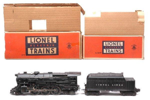 23: Lionel 675 Black Steam Loco w/6466W Tender OBs