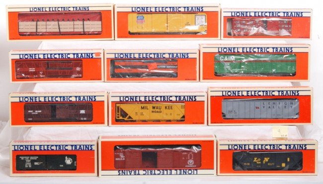 4: 12 Lionel LTI UP, B&O, GN, etc. freight cars
