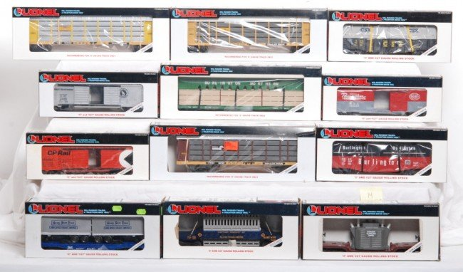 14: Lionel LTI auto racks, freight cars, 12 total