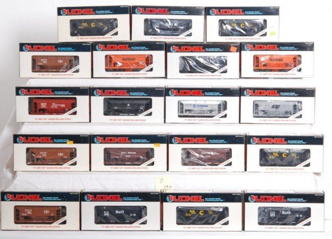 17: 19 Lionel LTI ore cars, Chessie, B&O, Etc.