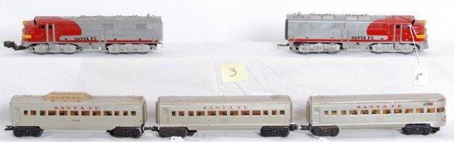 3: Marx Santa Fe 1095 diesels with aluminum passengers