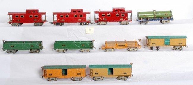 10: American Flyer prewar O gauge freight cars