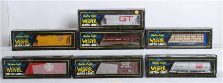 95 7 Weaver freight cars CNW ATSF Southern etc