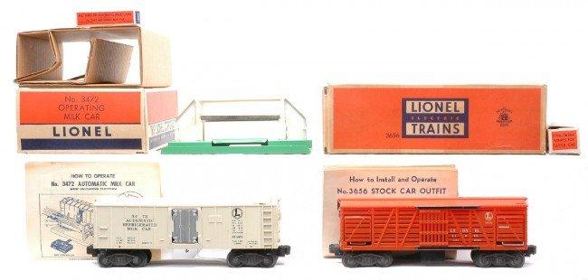 2: Lionel 3656 Cattle Car 3472 Milk Car LN Boxed