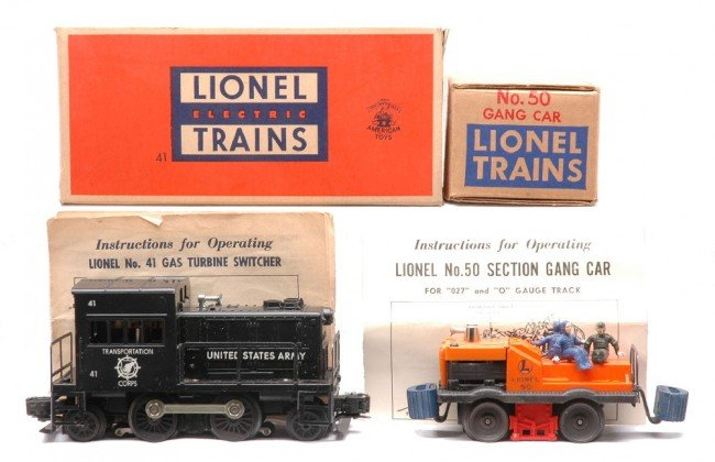 3: Lionel 41 US Army Switcher 50 Gang Car OBs